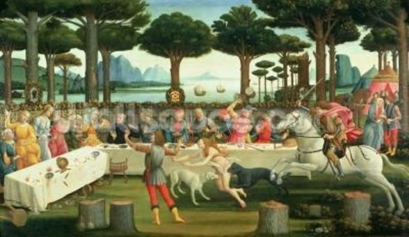 The Banquet in the Pinewoods: Scene III of The Story of Nastagio degli Onesti, c.1483 (tempera on panel) wall mural