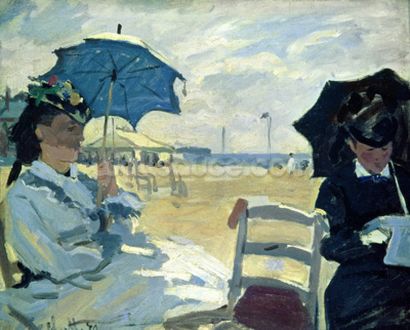 The Beach at Trouville, 1870 (oil on canvas) mural wallpaper