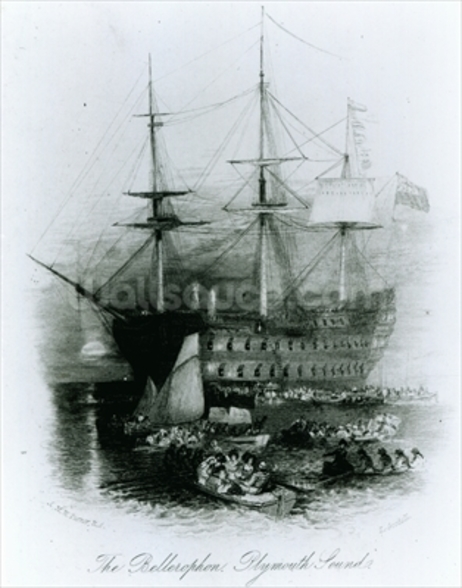 The Bellerophon at Plymouth Sound in 1815, 1834-36 (engraving) wallpaper mural
