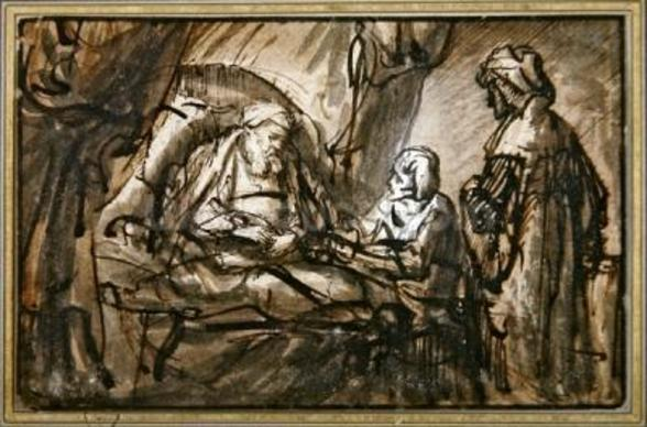 The Benediction of Isaac (pen & ink and wash) mural wallpaper