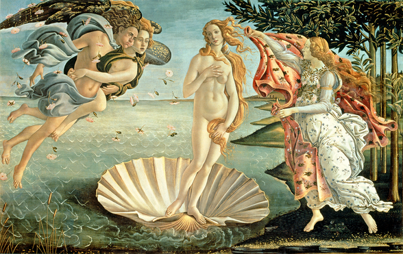 The Birth of Venus, c.1485 (tempera on canvas) mural wallpaper