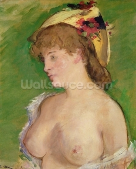 The Blonde with Bare Breasts, 1878 (oil on canvas) wallpaper mural
