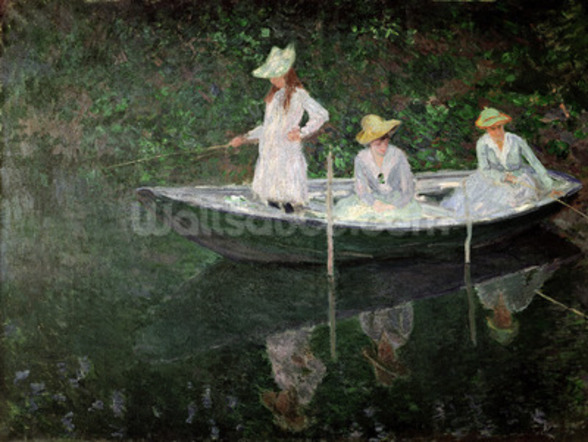 The Boat at Giverny, c.1887 (oil on canvas) mural wallpaper