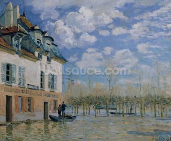 The Boat in the Flood, Port-Marly, 1876 (oil on canvas) wallpaper mural