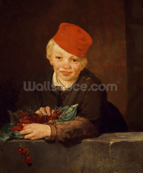 The Boy with the Cherries, 1859 (oil on canvas) wallpaper mural