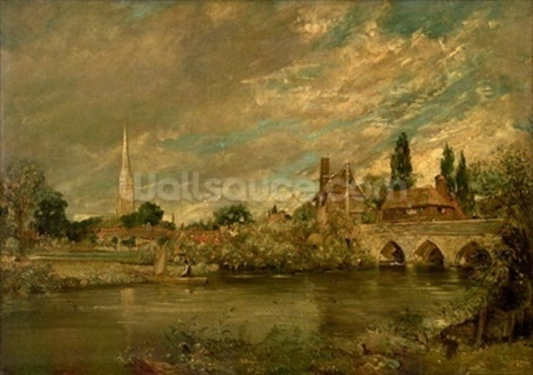 The Bridge of Harnham and Salisbury Cathedral, c.1820 mural wallpaper