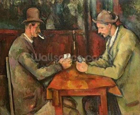 The Card Players, 1893-96 (oil on canvas) mural wallpaper