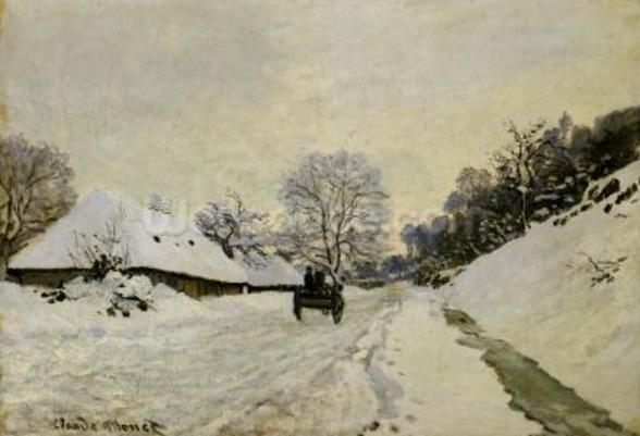 The Cart, or Road under Snow at Honfleur, 1865 (oil on canvas) wall mural