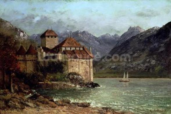 The Chateau de Chillon, 1875 (oil on canvas) wall mural