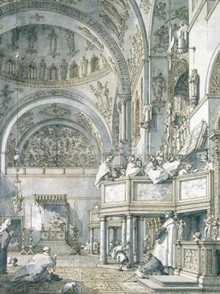 The Choir Singing in St. Marks Basilica, Venice, 1766 (pen, ink and wash on paper) wallpaper mural