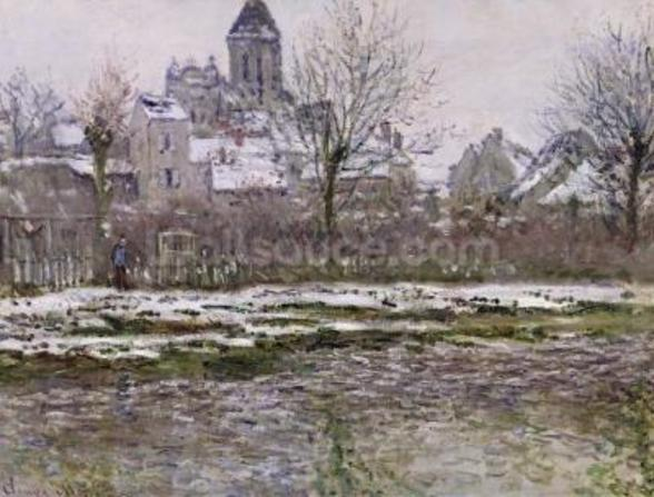 The Church at Vetheuil under Snow, 1878-79 (oil on canvas) mural wallpaper