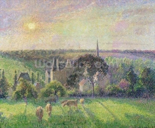 The Church and Farm of Eragny, 1895 (oil on canvas) mural wallpaper