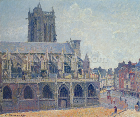 The Church of St Jacques in Dieppe, 1901 (oil on canvas) mural wallpaper