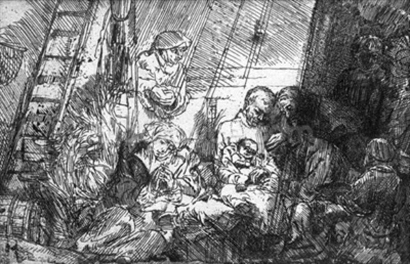 The Circumcision, 1654 (etching) (b/w photo) mural wallpaper