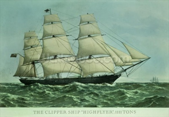 The Clipper ship Highflyer, 1111 tons (colour litho) wall mural