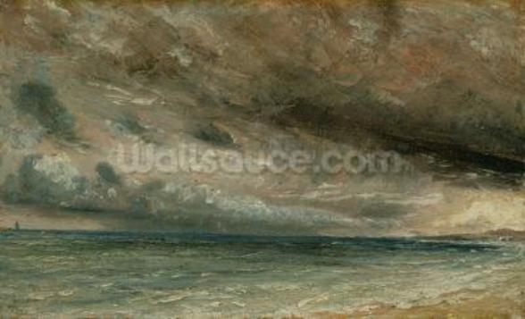 The Coast at Brighton - Stormy Evening, c.1828 (oil on paper laid on canvas) mural wallpaper