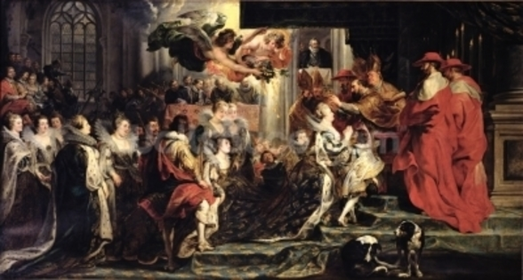 The Coronation of Marie de Medici (1573-1642) at St. Denis, 13th May 1610, 1621-25 (oil on canvas) wallpaper mural