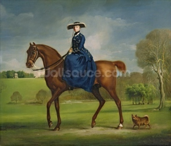 The Countess of Coningsby in the Costume of the Charlton Hunt, c.1760 (oil on canvas) wall mural