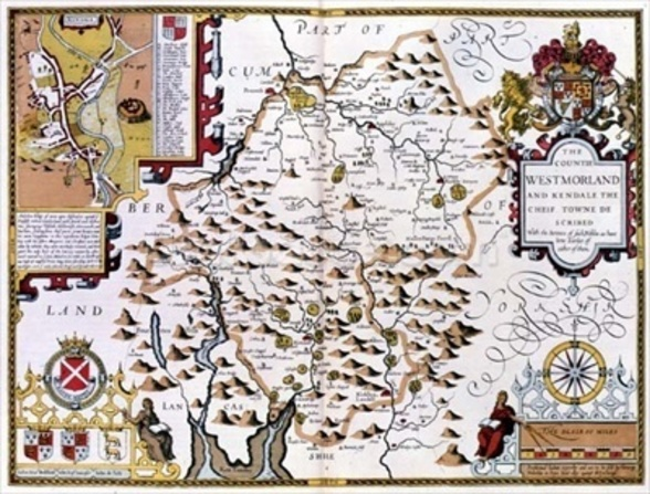 The Countie of Westmorland, engraved by Jodocus Hondius (1563-1612) from John Speeds Theatre of the Empire of Great Britain, pub. by John Sudbury and George Humble, 1611-12 (hand coloured copper engraving) wall mural