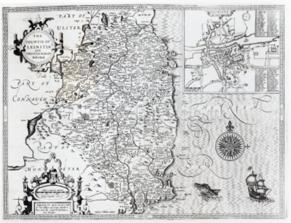 The County of Leinster with the City of Dublin Described, engraved by Jodocus Hondius (1563-1612), from Theatre of the Empire of Great Britain, pub. by John Sudbury and George Humble, 1611-12 (engraving) (b&w photo) mural wallpaper
