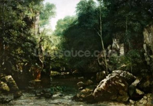 The Covered Stream, or The Dark Stream, 1865 (oil on canvas) wall mural