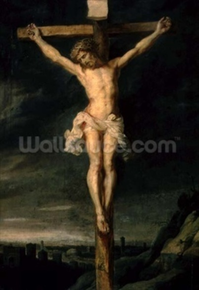 The Crucifixion (oil on canvas) wallpaper mural