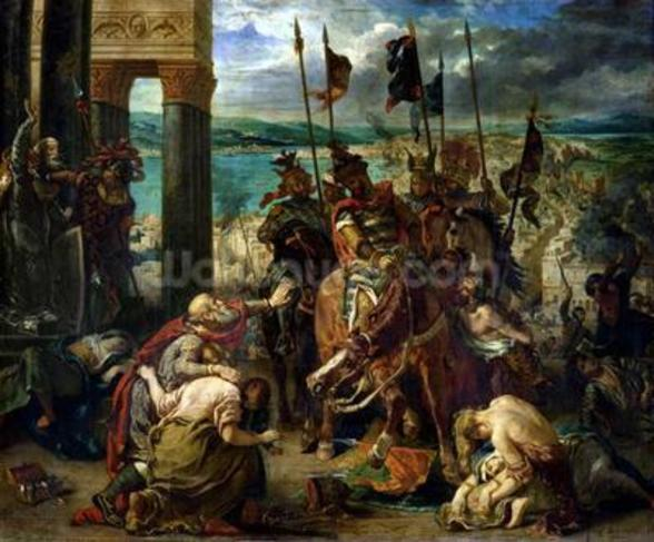 The Crusaders entry into Constantinople, 12th April 1204, 1840 (oil on canvas) wallpaper mural