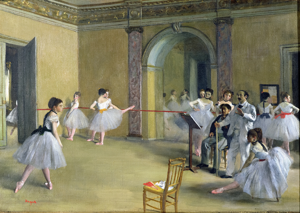 The Dance Foyer at the Opera on the rue Le Peletier, 1872 (oil on canvas) wallpaper mural