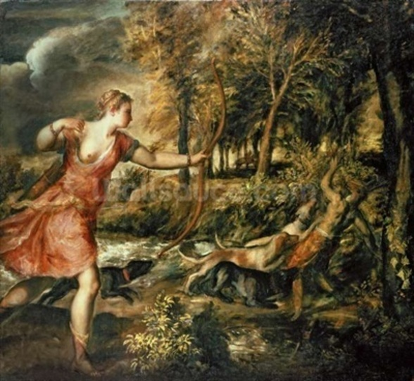 The Death of Actaeon, c.1565 (oil on canvas) wall mural