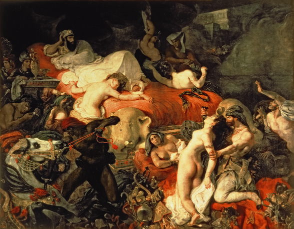 The Death of Sardanapalus, 1827 (oil on canvas) wallpaper mural