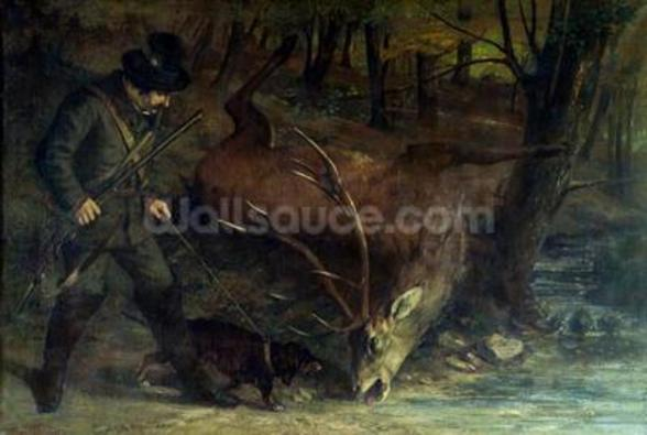 The Death of the Stag, 1859 (oil on canvas) wallpaper mural