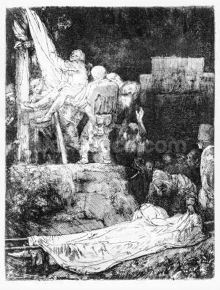 The Descent from the Cross, 1654 (etching) mural wallpaper