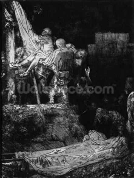 The Descent from the Cross with a Torch, 1654 (etching) (b/w photo) wall mural