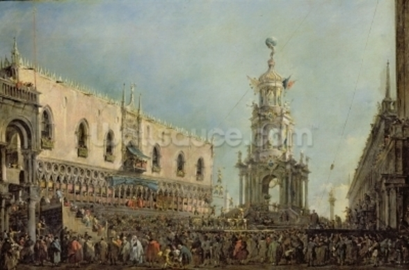 The Doge Watching the Festival of Giovedi Grasso in the Piazzetta di San Marco, 1766-70 (oil on canvas) wall mural