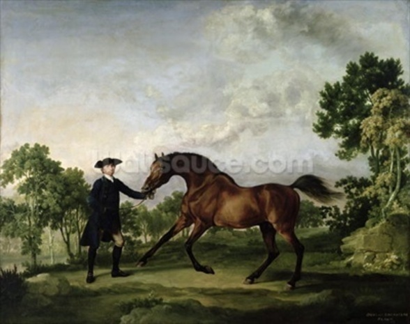 The Duke of Ancasters bay stallion Blank, held by a groom, c.1762-5 wall mural