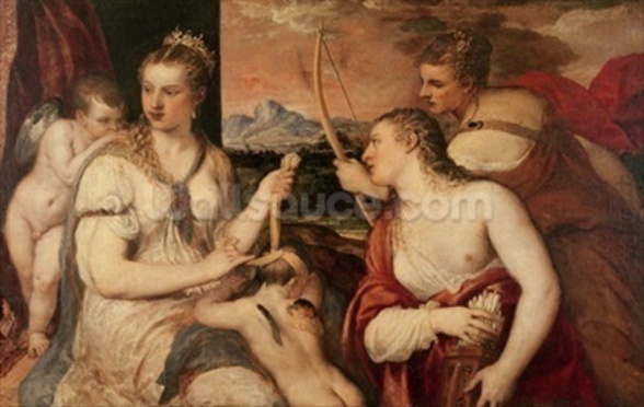 The Education of Cupid, c.1565 (oil on canvas) wall mural
