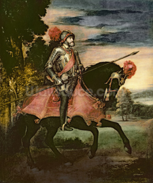 The Emperor Charles V (1500-58) on Horseback in Muhlberg, 1548 (oil on canvas) wall mural