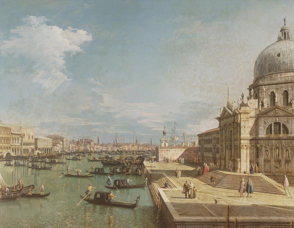 The Entrance to the Grand Canal and the church of Santa Maria della Salute, Venice (oil on canvas) mural wallpaper