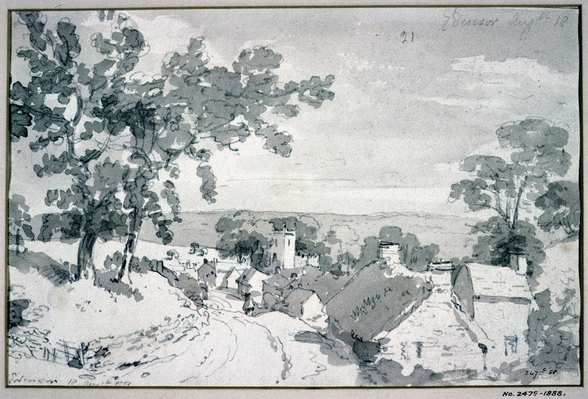 The Entrance to the Village of Edensor, 1801 (pencil and sepia wash) wall mural