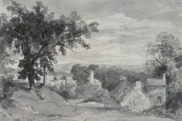 The Entrance to the Village of Edensor The Entrance to the Village of Edensor, 1801 (pencil and sepia wash) wallpaper mural
