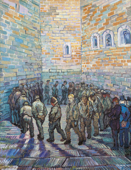 The Exercise Yard, or The Convict Prison, 1890 (oil on canvas) wall mural