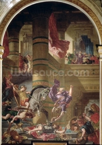 The Expulsion of Heliodorus from the Temple, 1853-63 (oil & wax on plaster) wall mural