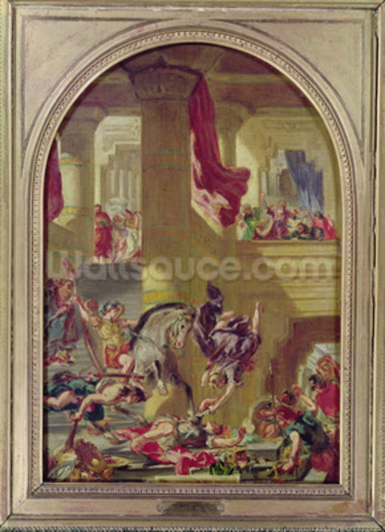 The Expulsion of Heliodorus from the Temple, c.1857 (oil on canvas) wall mural