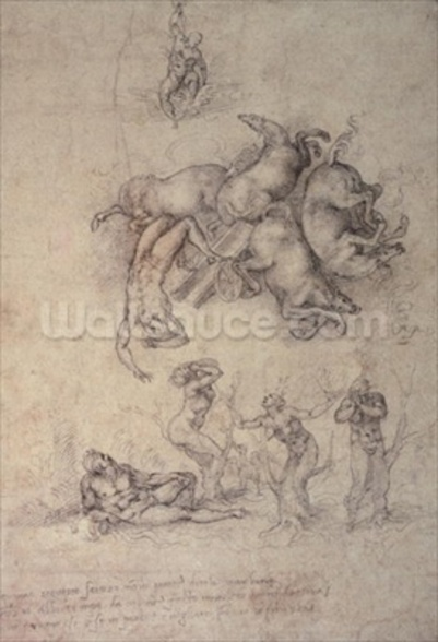 The Fall of Phaethon, 1533 (pencil on paper) mural wallpaper