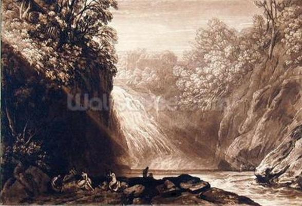 The Fall of the Clyde, engraved by Charles Turner (1773-1857), 1859-60 (etching and engraving) mural wallpaper