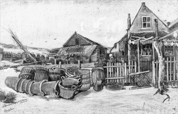 The fish drying barn at Scheveningen, c.1882 (pencil on paper) (b/w photo) mural wallpaper
