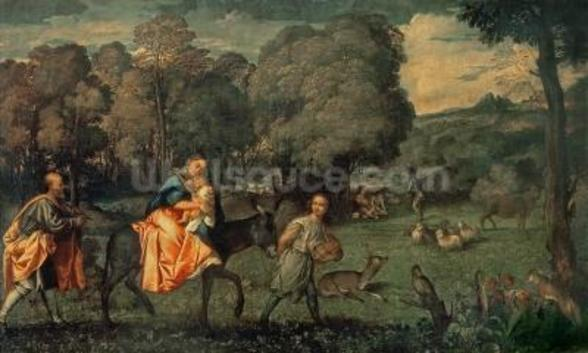 The Flight into Egypt, 1500s (oil on canvas) mural wallpaper