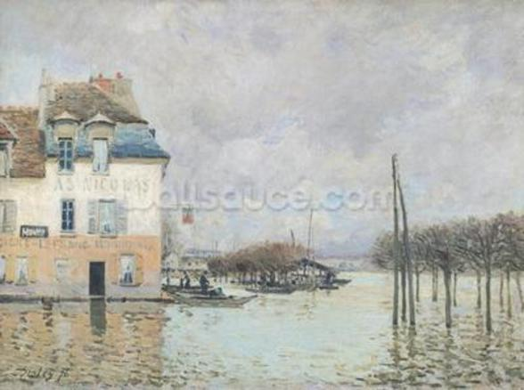 The Flood at Port-Marly, 1876 (oil on canvas) wallpaper mural