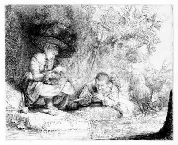 The Flute Player, 1642 (etching) wallpaper mural