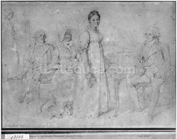The Forestier Family, 1806 (graphite on paper) (b/w photo) (see also 233242) wall mural